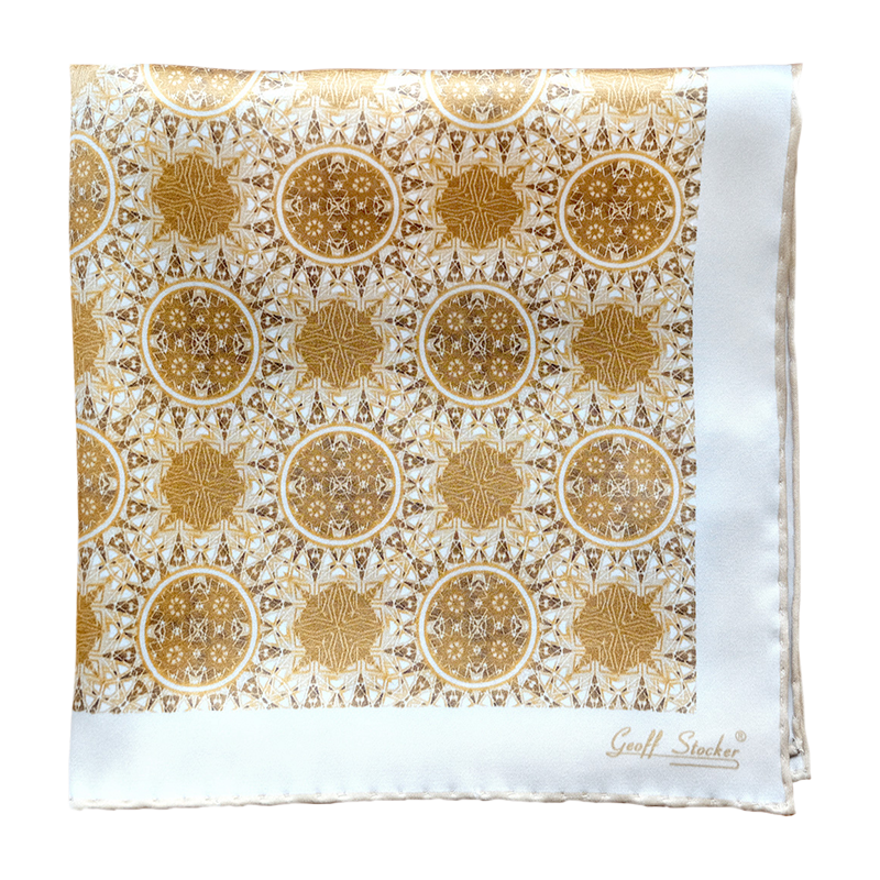 The 'Filigree' silk pocket square by Geoff Stocker