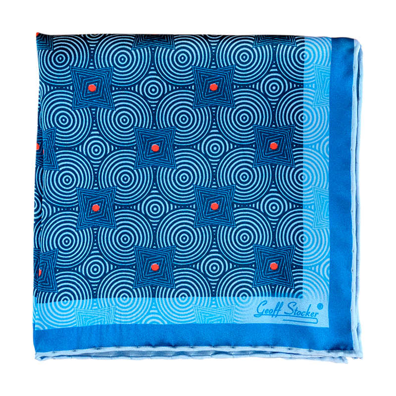 The 'Saxon Swirl' silk pocket square by Geoff Stocker